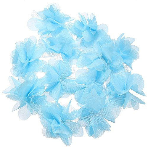 Yalulu 5 Yards 3D Chiffon Cluster Flowers DIY Lace Trim Dress Decoration Tulle Fabric Applique Trimming Craft Sewing (Blue) ()