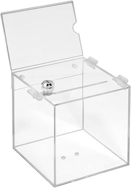 Votaciones de acrílico cristal en 150 x 150 x 150 mm con candado y topschild DIN A6 horizontal – zeigis®/Dona Caja/caja/sorteo bicicletaDerbystar parte Box/transparente/transparente/acrílico/Plexiglas/abschließbar/versperrbar: Amazon.es: Oficina y ...