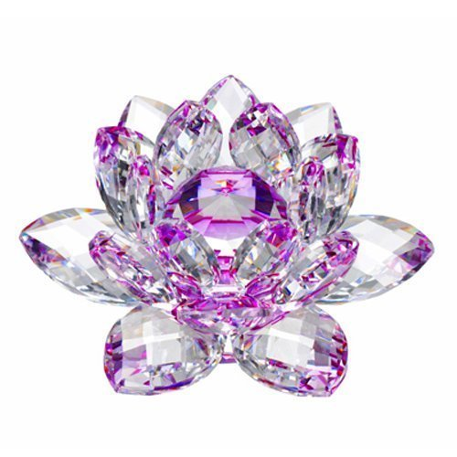 Amlong Crystal Hue Reflection Crystal Lotus Flower with Gift Box, Purple, 3-Inch