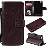Floral Wallet Case for Huawei P8 Lite,Strap Flip Case for Huawei P8 Lite,Leecase Embossed Totem Flower Design Pu Leather Bookstyle Stand Flip Case for Huawei P8 Lite-Brown