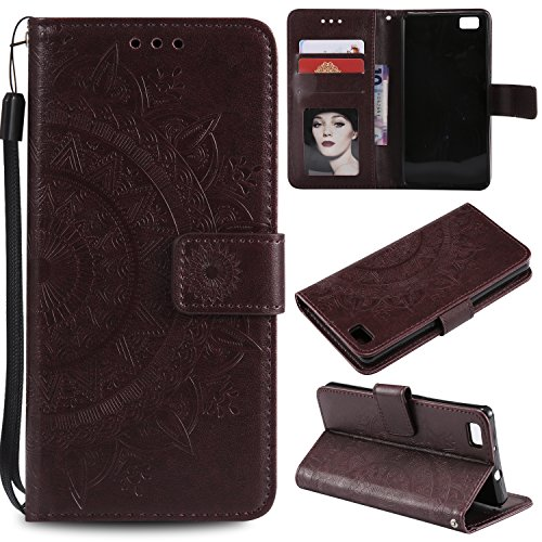 Floral Wallet Case for Huawei P8 Lite,Strap Flip Case for Huawei P8 Lite,Leecase Embossed Totem Flower Design Pu Leather Bookstyle Stand Flip Case for Huawei P8 Lite-Brown by Leecase