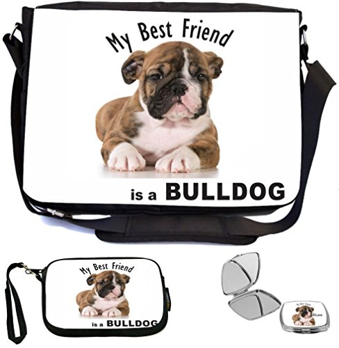 Rikki Knight My Best Friend is a BullDog Puppy Dog Design COMBO Multifunction Messenger Laptop Bag - with padded insert for School or Work - includes Wristlet & Mirror Best Friend Bulldog