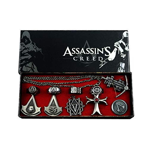 Uiipx 10pcs Assassin's Creed Origin Black Flag Ring Revolution Necklace Knight Shard, Assassin's Creed Keychain, Alloy and Jewelry