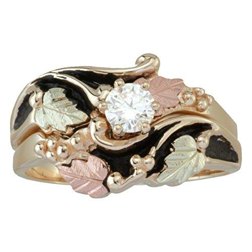 Antiqued Diamond Engagement Wedding Ring Set, 10k Yellow Gold, 12k Green and Rose Gold Black Hills Gold Motif, Size - Gold Diamond Jewelry Black Set Hills