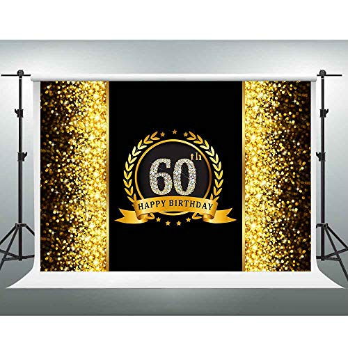 Happy Birthday Paty (GESEN 10X7FT Golden Shiny Black Happy 60th Birthday Party Backdrop Father Mother Birthday Background Step and Repeat Banner Props)