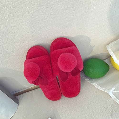 Slipper Flip Slip On Damen Rot YanHoo Flache Sliders Kunstpelz Flop Sandale Fluffy Hot Damen qz6zvnR1