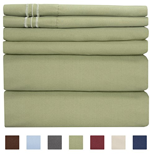 California King Size Sheet Set - 6 Piece Set - Hotel Luxury Bed Sheets - Extra Soft - Deep Pockets - Easy Fit - Breathable & Cooling - Wrinkle Free - Comfy - Sage Green Bed Sheets - Cali Kings Sheets - King Fitted Sheet Olive