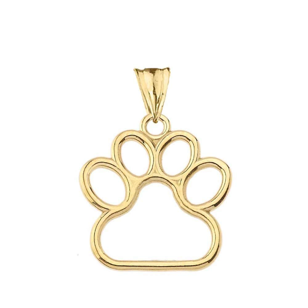 Dainty 14k Yellow Gold Dog Paw Print Outline Charm Pendant (Medium)