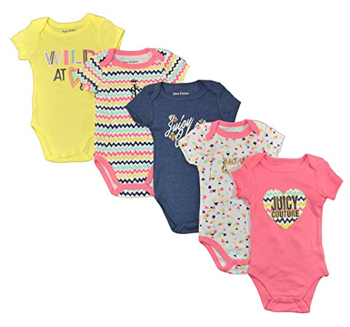 (Juicy Couture Baby Girls' 5 Pack Bodysuit, Yellow/Pink, 3-6)