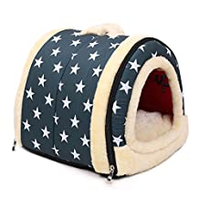 ANPI 2 In 1 Pet House and Sofa, Machine Washable White Stars Pattern Non-slip Foldable Soft Warm Dog Cat Puppy Rabbit Pet Nest Cave Bed House with Removable Cushion Detachable Cashmere Mattress, 3 Sizes (Small)