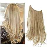SARLA Long Dirty Blonde Halo Hair Extensions Highlight 22 Inch Wavy Curly Synthetic Hair Piece for Women Adjustable Size Transparent Wire Headband Heat Friendly Fiber 5.3 Oz No Clip (M01-22&16H613)