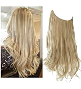 SARLA Dirty Blonde Hair Extension Halo Highlight Wavy Curly Long Synthetic Hairpieces for Women 1...