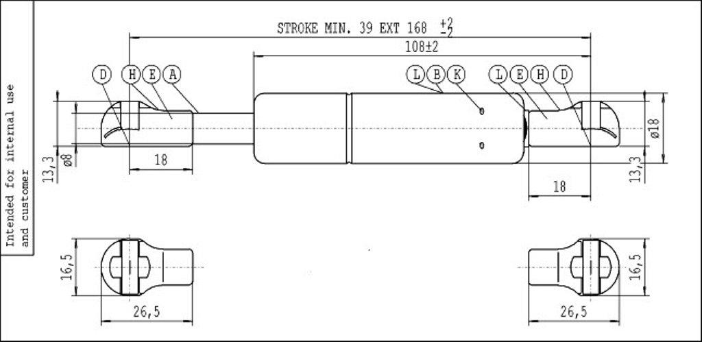 Stabilus Molla A Gas Hydro-Lift 7422WW Grigio 450 N Di Spinta