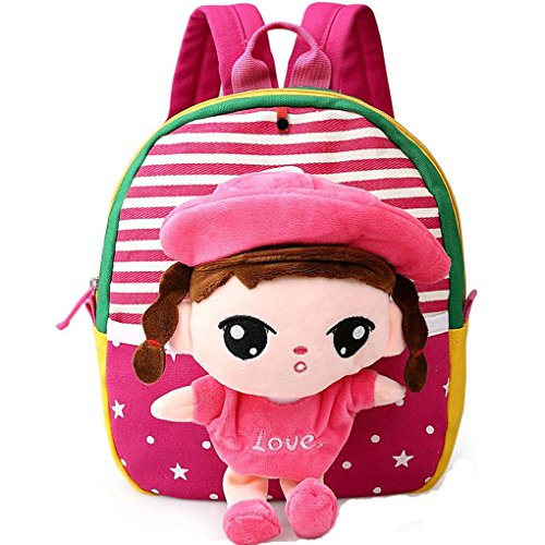 MATMO 3D Cute Cartoon Little Plush Baby Backpack Baby Toy Bag Rose Red Girl