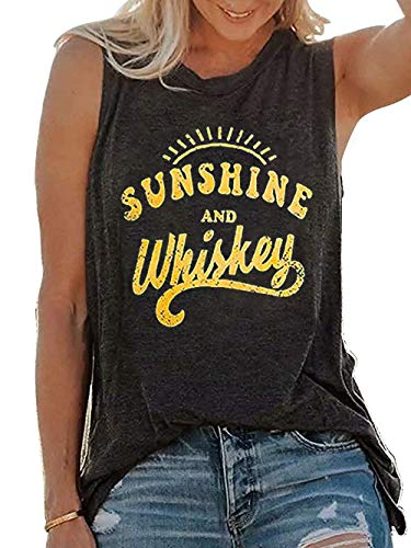 MOMOER Sunshine and Whiskey Tank Tops Women Funny Country Music Drinking Party Sleeveless Summer Festival Vest Tshirt (Grey, M)