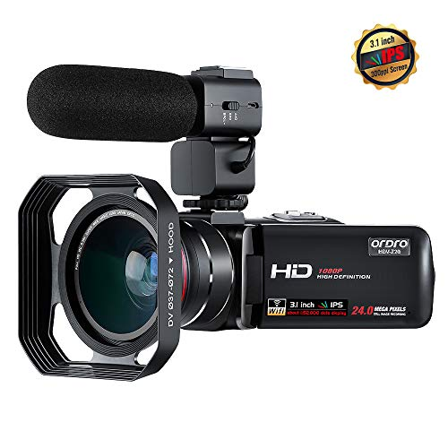 - Camcorder, ORDRO Video Camera New Upgrade 3.1'' IPS Touchscreen Digital Camcorder Full HD 1080P 30FPS WiFi Camera Camcorders with Microphone and Wide Angle Lens
