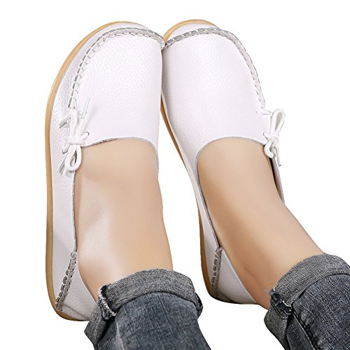 Fashion White2 Leather Casual Shoes Toe show Wild Breathable best Round Flats Driving brand Moccasins Loafers Women's wq0wZnUAr