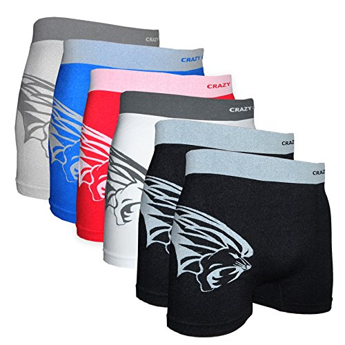 Spandex Print Briefs - Crazy Cool Seamless Fun Boxer Briefs Boyshorts for Women and Men Underwear 6-Pack (Medium/Large, Lion-6Pack)