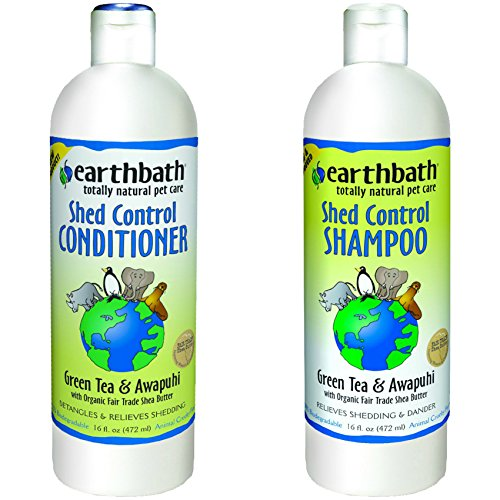 (Earthbath Shed Control with Green Tea & Awapuhi Shampoo for Dogs and Cats, 16 oz Shed Control with Green Tea & Awapuhi Conditioner for Dogs and Cats, 16 oz)
