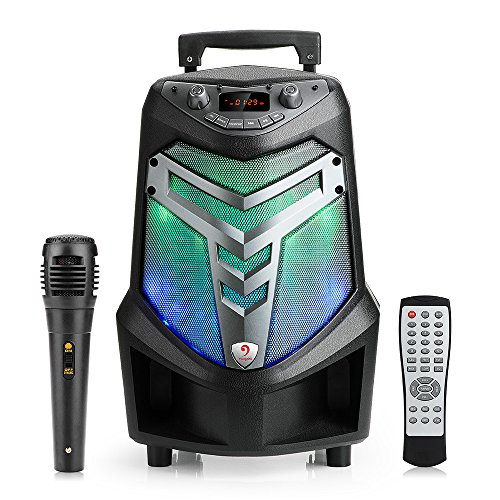 Portable Bluetooth K81 Public Square Dancing Entertainment Speaker System with Lights, Recording Ability, MP3/USB/TF/FM Radio/Karaoke (10m Bluetooth Radio)
