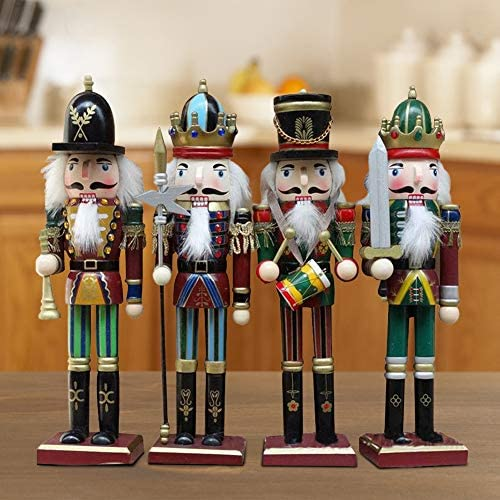 30cm//11.81in Large Nutcracker Set Great Decoration for Office Home for Kids Lorchwise 4 Pcs//Set Classic Solid Wood Nutcracker
