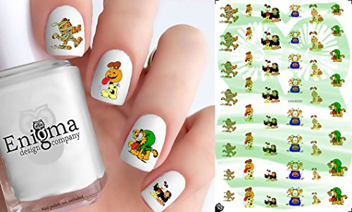 Garfield Halloween Accessories (Clear Vinyl, Peel & Stick Nail Decals)]()