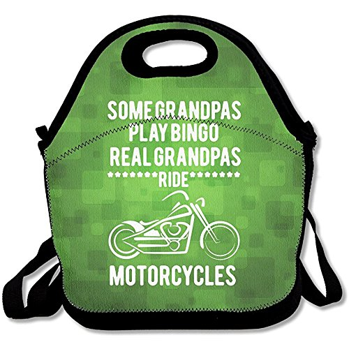Staropor Some Grandpa's Play Bingo Real Grandpa's Ride Motorcycles Large & Thick Insulated Tote Lunch Bags With Containers Lunch Bag For Men Women Kids Enjoy You Lunch by Staropor