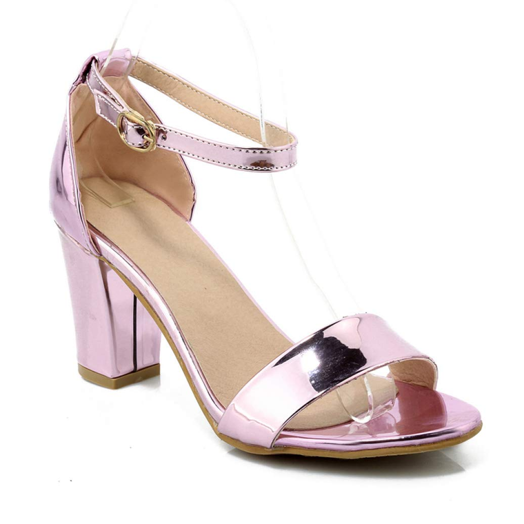 Lavender MEIZOKEN Womens Block High Heel Sandals Patent Leather Ankle Strap Chunky Open Toe Pumps Dress Party Sandal