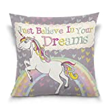 ALAZA Heart Love Rainbow Unicorn Cotton Pillowcase 16 X 16 Inches Twin Sides, Just Believe in Your Dreams Rainbow Unicorn Pillow Case Sham Cover Protector Decorative for Home Hotel Couch Ded