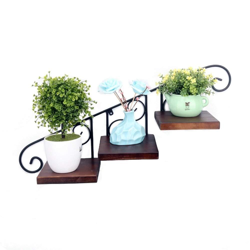 YCT クリエイティブウォールスタンドアイアン壁掛け植木鉢バルコニーウォールマウント無垢材棚装飾フレーム B07TFZPY5D