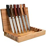 La Cote 6 Piece Steak Knives Set Japanese Stainless Steel Exotic Wood Handles In Bamboo Storage Box (6 PC Steak Knife Set -Exotic Wood)