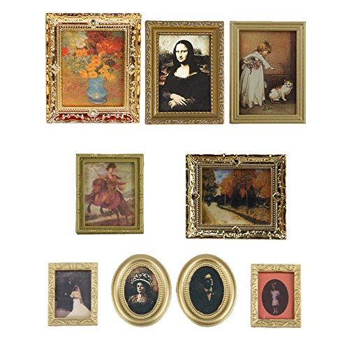Zeroyoyo Vintage Photos Painting Mural Wall Picture for 1:12 Dollhouse Miniature Random Send 1PCS