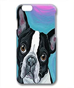 wskshop Customized iPhone 6 Plus Case, Painting Boston Terrier Thanking Plastic Hard Case for iPhone 6 Plus (White Border)