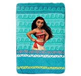DH 1 Piece Disney The Wave Movie Blanket Twin, Featuring Character Moana, All Over Aztec Pattern, Geometric Horizontal Hawaii Stripes Theme, Hawaiian Waves Coastal Ocean Reef Themed, Aqua Light Blue
