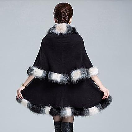 PENER Womens Warm Luxury Style Faux Fur Double Layers Cloak Cape Coat