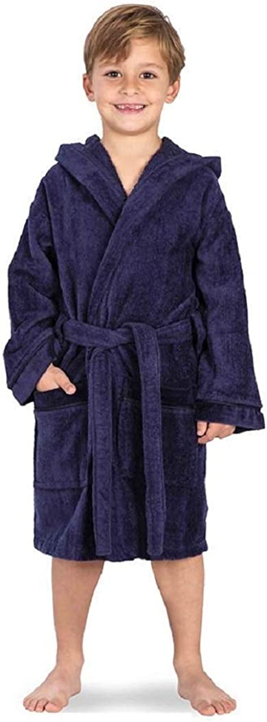 Red Olives Kids Boys Girls Bathrobe 100/% Egyptian Cotton Velour Towelling Hooded Dressing Gown Soft FINE Comfortable Nightwear Terry Towel Bath Robe Lounge WEAR Housecoat
