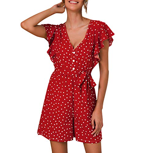 QIQIU Womens New Sexy Dot Print Frill Ruffle Sleeve Belted Summer V-Neck Buttons Loose Wide Leg Short Holiday Jumpsuits Red