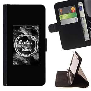 For Apple (5.5 inches!!!) iPhone 6+ Plus / 6S+ Plus Case , Positive Vibes Negro Blanco Texto motivación- la tarjeta de Crédito Slots PU Funda de cuero Monedero caso cubierta de piel