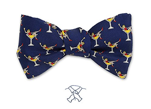 Josh Bach Men's Girls in Martini Glasses Self-Tie Silk Bow Tie in Blue, Made in USA