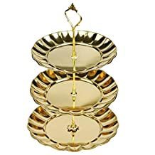 Silly 3 Tier Fruits Cakes Desserts Plate Stand Gold Color Stainless Steel Plates