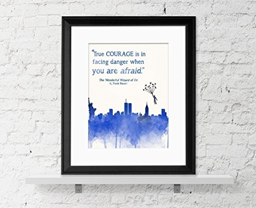 True Courage - Wizard of Oz Children's Literature Quote Fine Art Print For Classroom, Library, Home or Nursery
