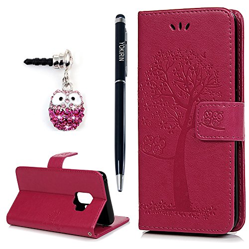 Galaxy S9 Case, YOKIRIN Flip Wallet Full PU Leather Kickstand Embossed Floral Owl Magnetic Tree Book Style Built-in Stand Card Slots Holder Protective Cover with Detachable Wrist Strap, Rose