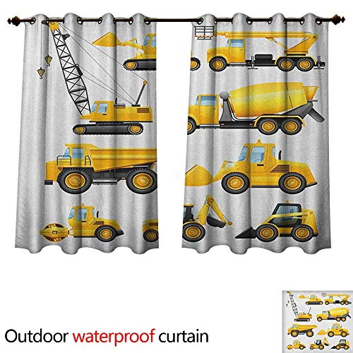 Bulldozer Knob (Boys 0utdoor Curtains for Patio Waterproof Abstract Images of Construction Vehicles and Machinery Trucks Bulldozer Crane W120 x L72(305cm x 183cm))