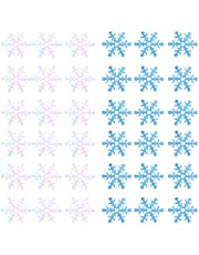 600Pcs Christmas Snowflake Confetti Glittered Snowflake Ornaments for Xmas Wedding Holiday Party Table Decorations Supplies (blue, White)