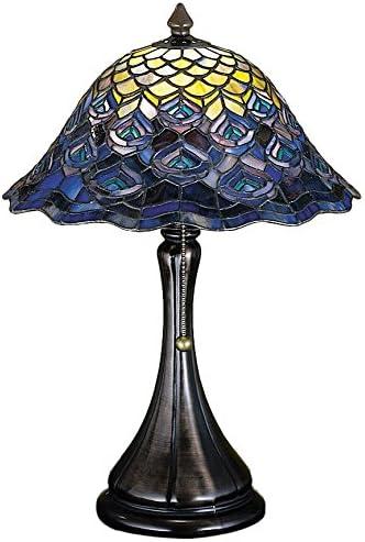 Meyda Tiffany 28568 Tiffany Peacock Feather Accent Lamp, 18 H