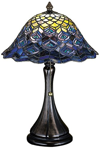 (Meyda Tiffany 28568 Tiffany Peacock Feather Accent Lamp, 18