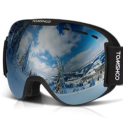 TOMSHOO OTG Ski Goggles Windproof Dustproof Anti Fog UV Protection Spherical Wide Vision Double Lens Detachable Strap Multicolor Goggles