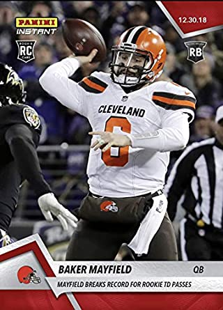 7a090eb00d17 2018 BAKER MAYFIELD BREAKS RECORD FOR ROOKIE TD PASSES PANINI INSTANT CARD   239 + TOPLOADER