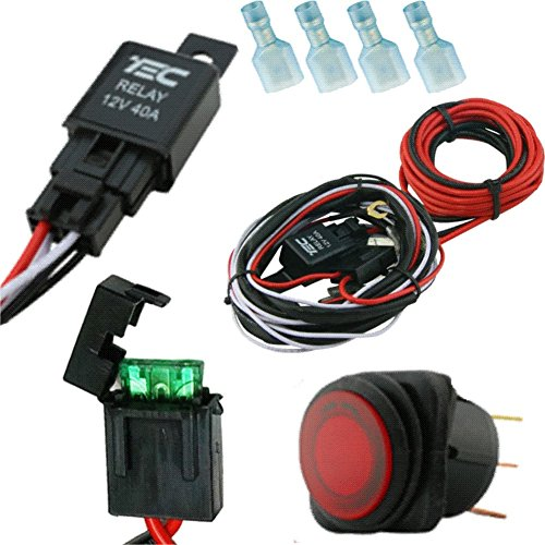 lighting 40 amp universal wiring harness comes with 40 relay,  illuminated on/off rocker switch for offroad led light bars and work lights,  jeep, atv,