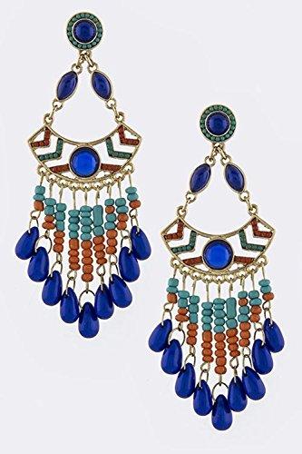 Teardrop Fringe Earrings (TRENDY FASHION JEWELRY TEARDROP FAUX GEM FRINGE EARRINGS BY FASHION DESTINATION | (Blue))